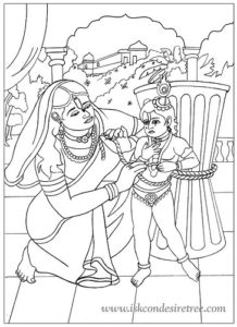 Damodar Lila:When Yashoda punishes Krishna, the Supreme Lord
